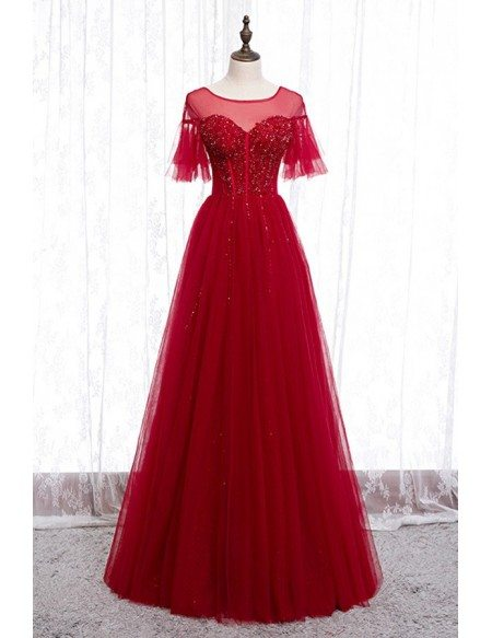 Red Tulle Formal Party Dress With Illusion Neckline Bling