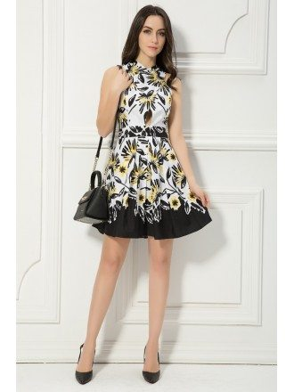 Summer Floral Printed A-Line Chiffon Short Wedding Guest Dress