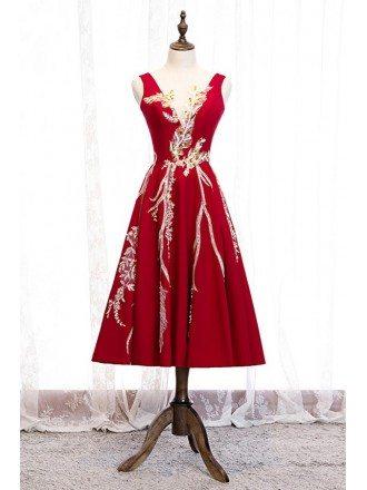 Unique Embroidered Sequins Tea Length Formal Dress With Vneck