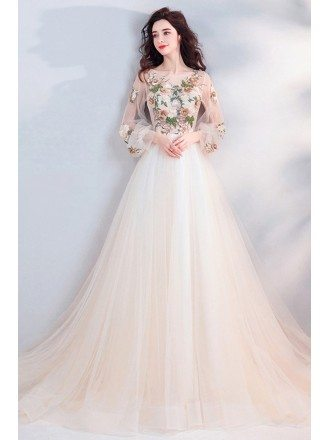 Fancy Long Tulle Prom Dress With Long Sleeves Flowers Long Train