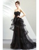 Mistery Black High Low Tulle Prom Party Dress With Ruffles Strapless