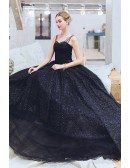 Mistery Black Ballgown Sparkly Prom Formal Dress With Straps