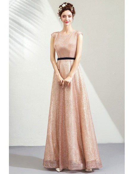 Sparkly Champagne Sequins Aline Formal Dress Long With Sash