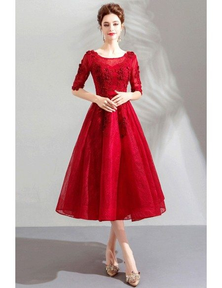 Burgundy Red Lace Tea Length Party Dress With Half Sleeves