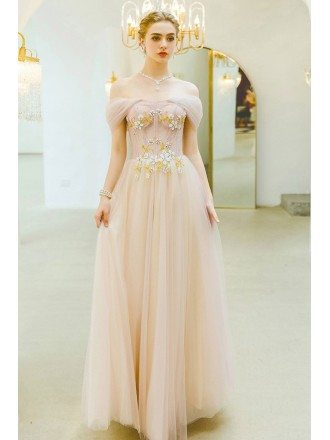 Gorgeous Pink Tulle Off Shoulder Flowy Prom Dress With Beaded Flowers