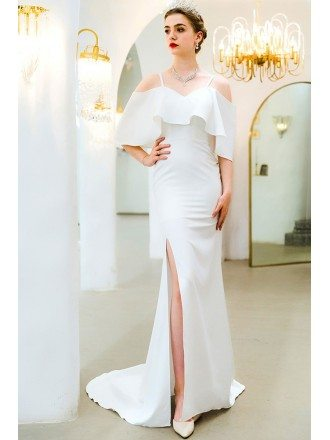 Formal White Mermaid Satin Evening Dress With Side Split Train