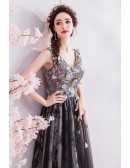 Pretty Black Tulle Aline Prom Dress Flowers With Vneck