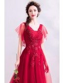 Flowy Red Tulle Aline Long Prom Dress With Beading Puffy Sleeves