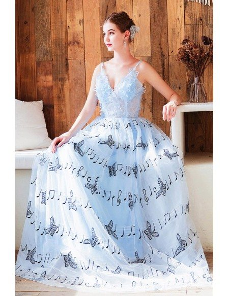 Cute Blue Vneck Long Party Dress With Music Note Patterns