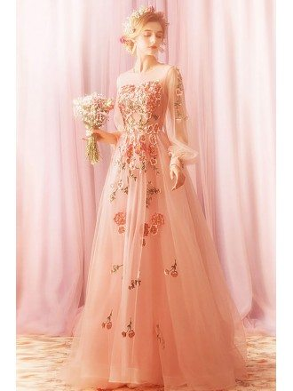 Dreamy Pink Tulle Flowers Prom Dress With Long Sleeves Embroidery Flowers