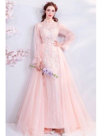 Unique Long Sleeve Pink Lace High Neck Prom Dress With Flowers