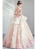 Dreamy Pink Flowers Ballgown Prom Dress Pageant Gown With Ruffles