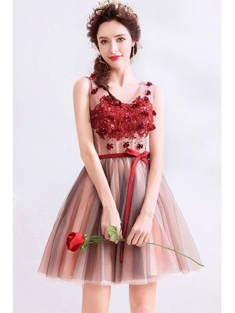 Cute Short Tulle Red Beaded Prom Hoco Dress Vneck With Sash