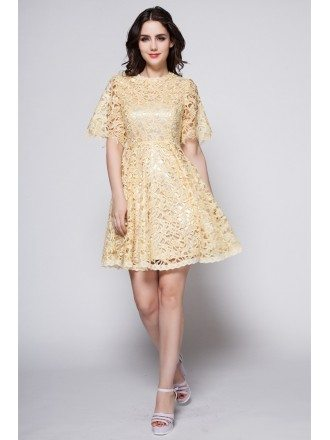 Feminine A-Line Lace Short Wedding Party Dress With Sleeves