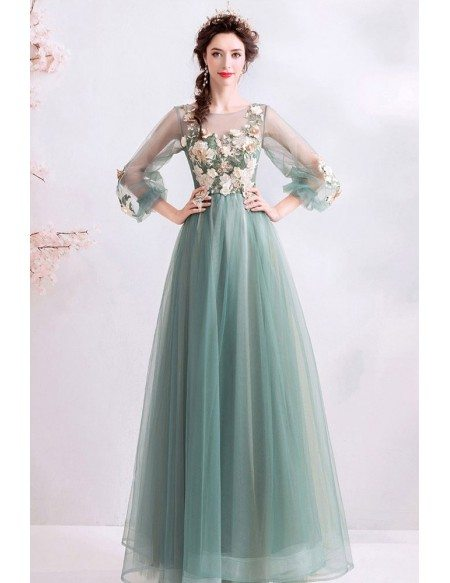 Fairy Dusty Green Tulle Long Sleeve Prom Dress With Long Sleeves