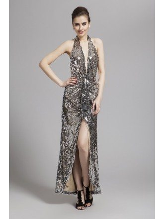 Sexy Halter Sequined Long Prom Dress With Front Split