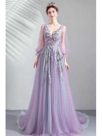 Fairytale Purle Long Tulle Prom Dress Floral With Tulle Long Sleeves
