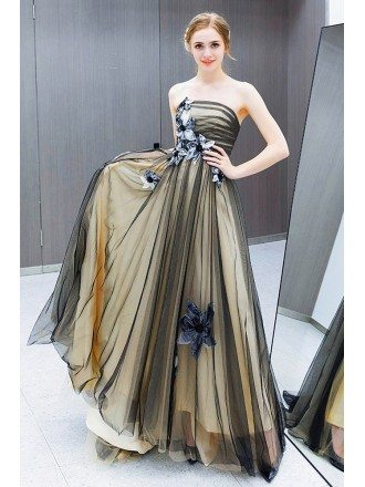 Black Tulle Train Length Strapless Prom Dress With Flowers