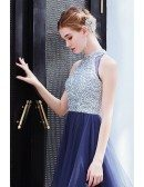 Silver With Blue Tulle Maxi Party Dress With Sequins Top