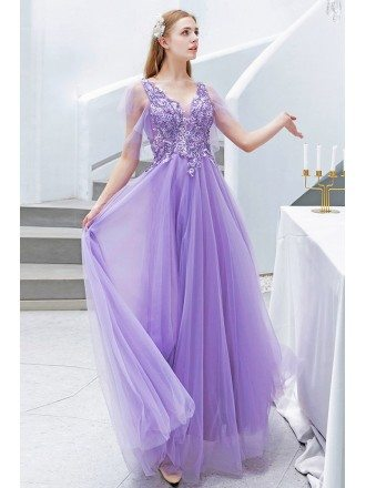 Pretty Purple Long Tulle Prom Dress Vneck With Tulle Sleeves Beadings