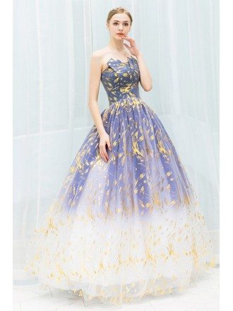 Fantasy Ombre Blue With Gold Long Tulle Prom Party Dress Strapless