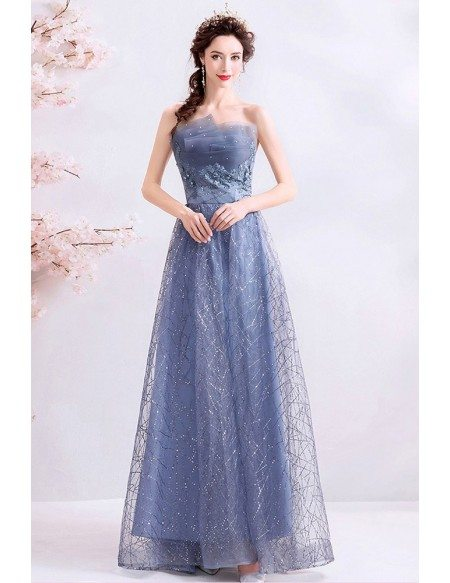 Fantasy Blue Tulle Sparkly Long Prom Dress Strapless With Train