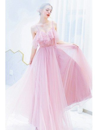 Cute Pink Flowy Long Tulle Prom Dress With Beaded Spaghetti Straps
