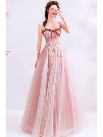 Super Cute Dusty Pink Long Tulle Prom Dress With Sweetheart Flowers