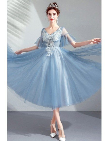 Dusty Blue Tea Length Tulle Formal Party Dress Vneck With Puffy Sleeves