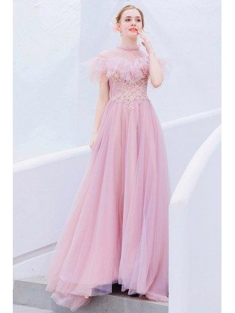 Cute Pink Beaded Flowers Long Party Dress With Illusion Neckline