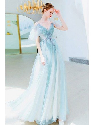 Dusty Green Long Tulle Prom Dress Flowy Vneck With Straps