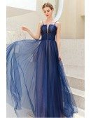 Noble Blue Tulle Formal Party Dress With Train Spaghetti Straps