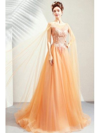 Luxe Gold Long Tulle Aline Prom Dress With Tulle Cape