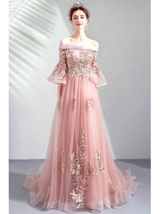 Off Shoulder Pink Belle Sleeves Long Prom Dress With Train