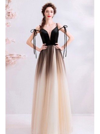 Mistery Ombre Black Tulle Prom Dress Long With Spaghetti Straps