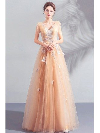 Pretty Butterflies Long Tulle Prom Dress Vneck With Embroidery