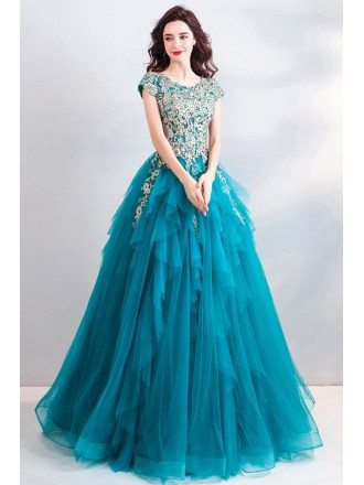 Luxury Turquoise Big Ballgown Prom Dress Formal With Embroidery Cap Sleeves