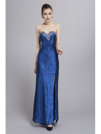 Sexy Sequined Sweetheart  Evening Dress With Front Split Beading