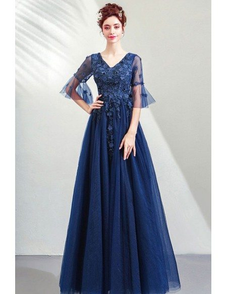 Modest Blue Tulle Prom Dress Aline Vneck With Tulle Sleeves