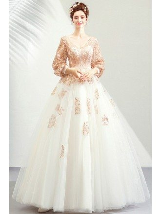 Sparkly Ligh Champagne Ballgown Tulle Prom Dress Formal With Long Sleeves