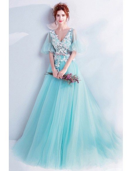 Fairytale Seamist Blue Prom Dress Ballgown With Puffy Sleeves Vneck