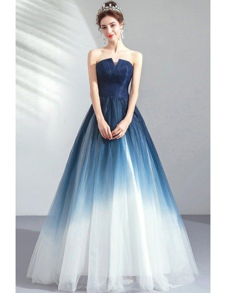 Dreamy Ombre Blue Ballgown Tulle Prom Dress Formal Strapless