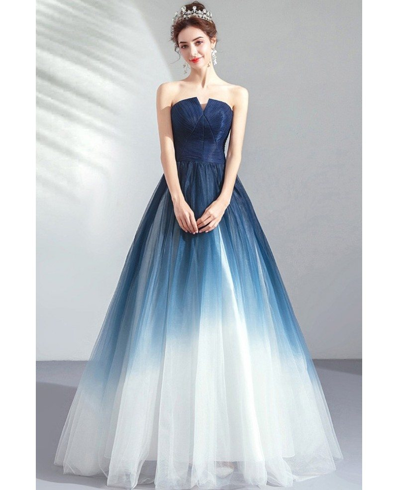 Dreamy Ombre Blue Ballgown Tulle Prom Dress Formal Strapless Wholesale  #T79009 - GemGrace.com