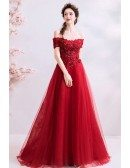 Gorgeous Red Off Shoulder Sleeves Long Tulle Prom Dress With Beading