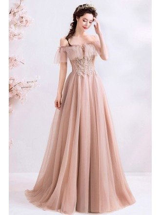 Romantic Nude Pink Off Shoulder Prom Dress Long Tulle With Beading
