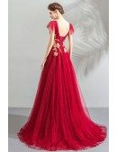 Burgundy With Gold Flowy Tulle Prom Dress Formal Vneck With Gold Embroidery