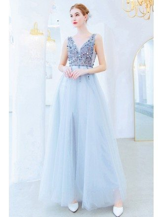 Silver Sequins Beading Top Aline Long Prom Dess Vneck Sleeveless