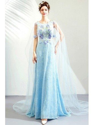 Fairy Blue Long Tulle Lace Prom Dress With Shawl Flowers