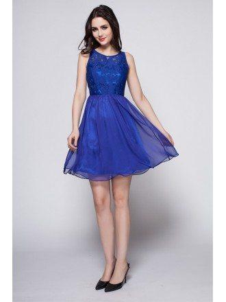 2016 Summer Blue Lace Top Short Dress