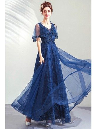 Elegant Royal Blue Lace Beaded Prom Dress With Tulle Short Sleeves